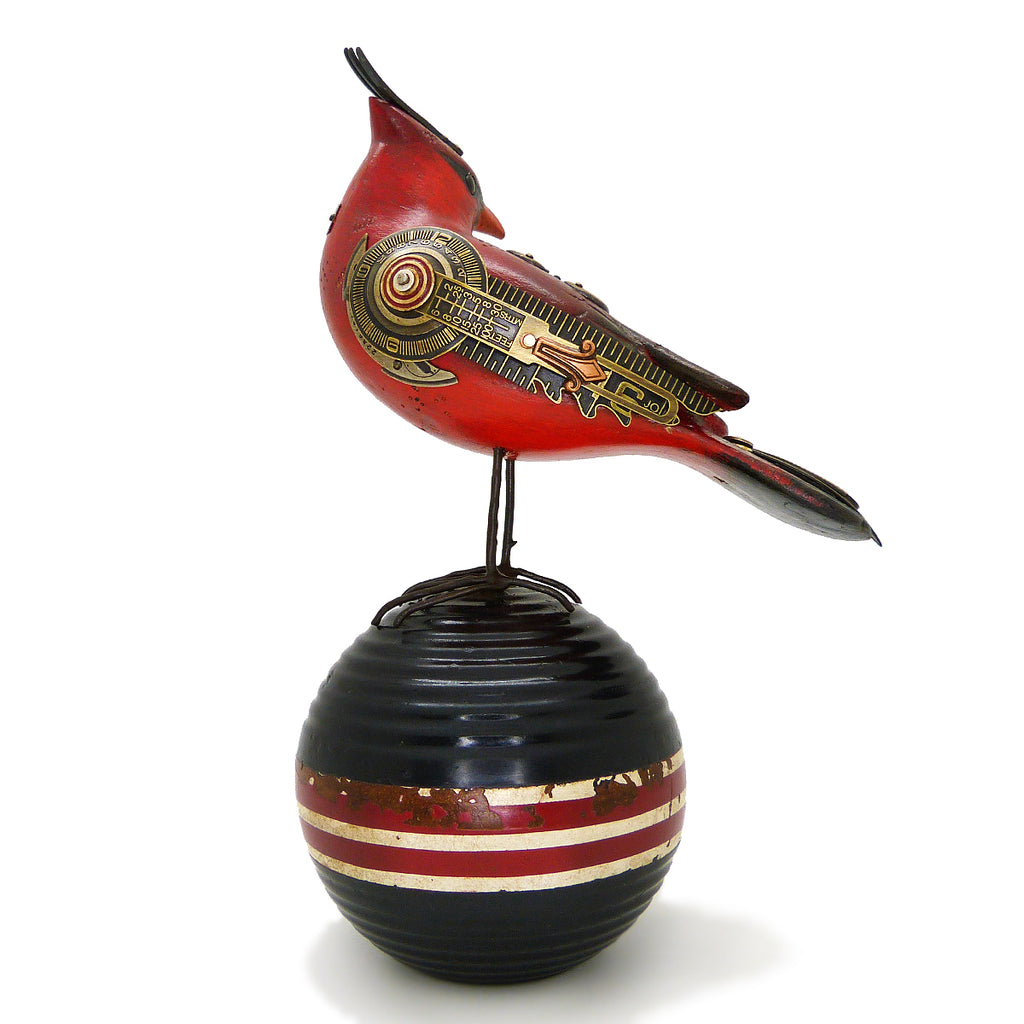 Mullanium Turned Head Red Cardinal Bird Croquet Ball Artists Jim Tori Mullan Steampunk Handmade - ILoveThatGift