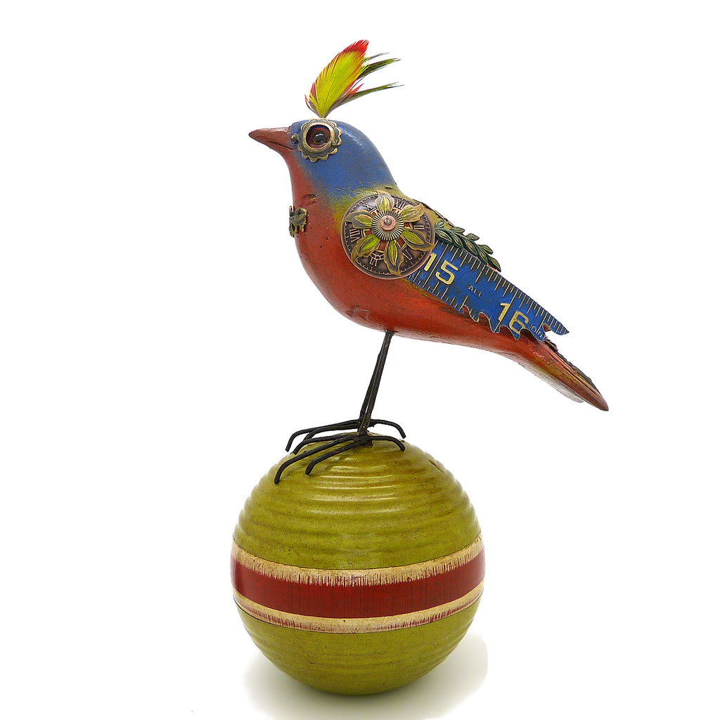 Mullanium Bunting Bird on  Croquet Ball Artists Jim Tori Mullan Steampunk Handmade - ILoveThatGift