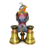 Mullanium Silver Ear Mesia Bird on Binoculars Artists Jim Tori Mullan Steampunk Handmade - ILoveThatGift