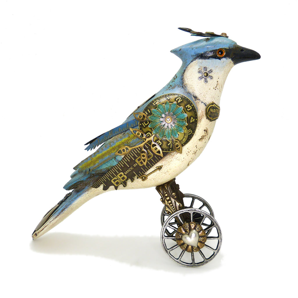Mullanium Blue Jay Wheels Artists Jim Tori Mullan Steampunk Handmade - ILoveThatGift