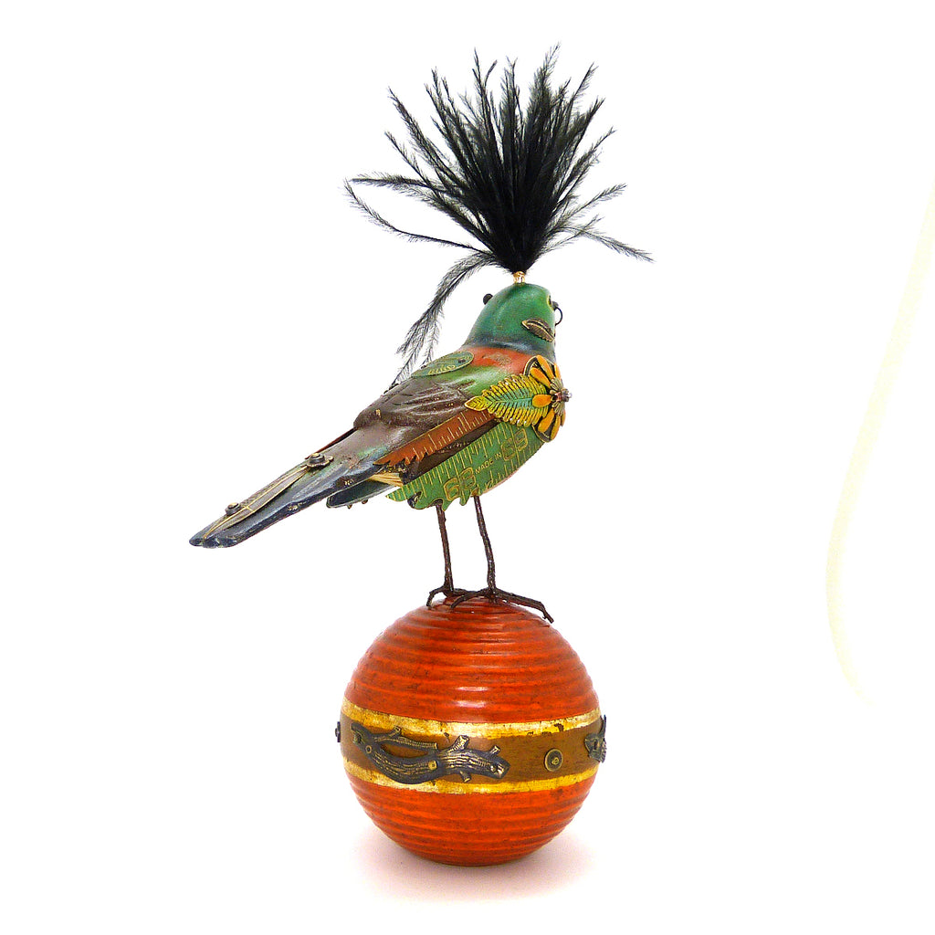 Mullanium Brown Teal Bird Croquet Ball Artists Jim Tori Mullan Steampunk Handmade - ILoveThatGift