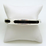 Simon Sebbag Sterling Silver 925 Bangle Bracelet with Black Leather Insert BL106 - ILoveThatGift