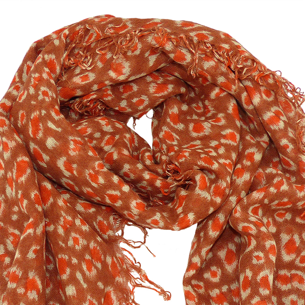 Chan Luu Brown Orange Redwood Leopard Print Cashmere And Silk Scarf - ILoveThatGift