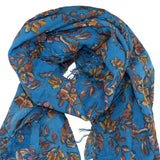 Chan Luu Palace Blue Painterly Floral Cashmere And Silk Scarf