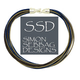 "Simon Sebbag Leather Necklace 3 colors Brown Sand Blue Ink 17"" Add Sterling Silver Slide"