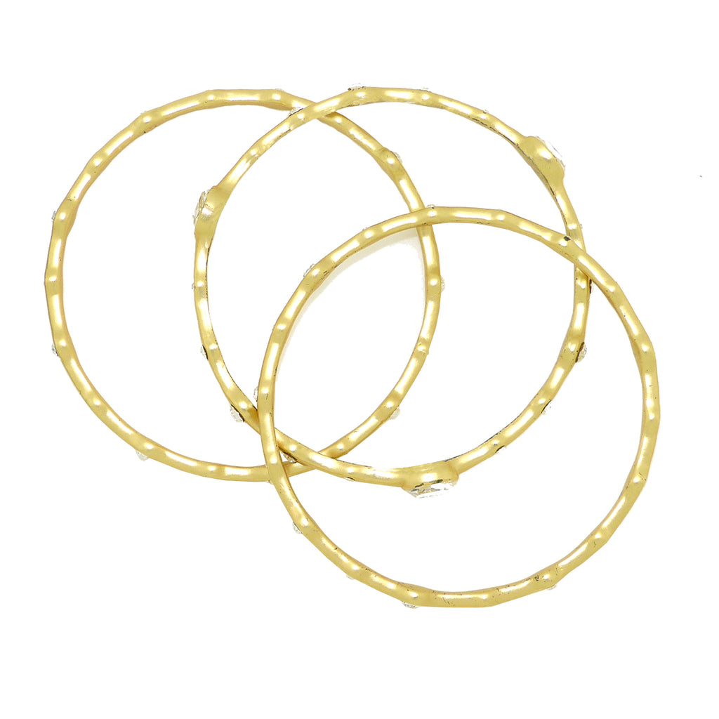 Bangle Set of 3 in Gold or Silver with Clear Stones Ipp Designer Inspired - ILoveThatGift