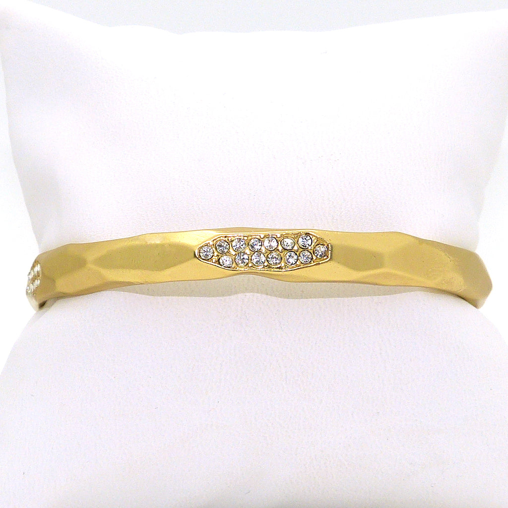 Pave Matte Bangle in Gold Wide & Narrow Ipp Designer Inspired - ILoveThatGift
