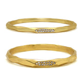 Pave Matte Bangle in Gold Wide & Narrow Ipp Designer Inspired