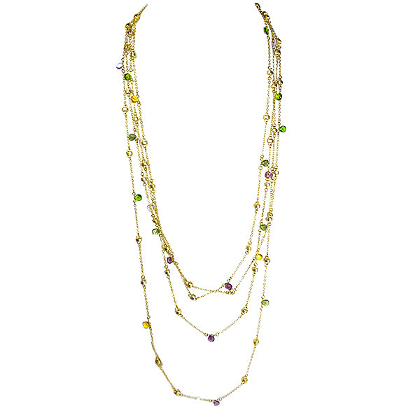 Brushed Gold Toned Multi-Colored Gemstones Chain Necklace Marco Bicego Inspired - ILoveThatGift