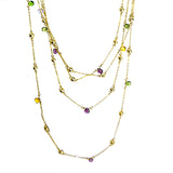 Brushed Gold Toned Multi-Colored Gemstones Chain Necklace Marco Bicego Inspired