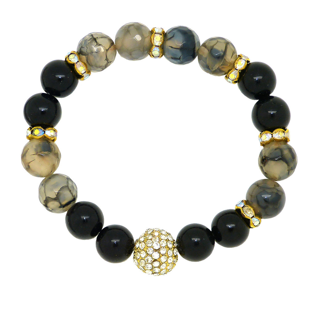 Luxe Couture Stretch Faceted 10mm Black Gray Agate Pave Ball Bracelet