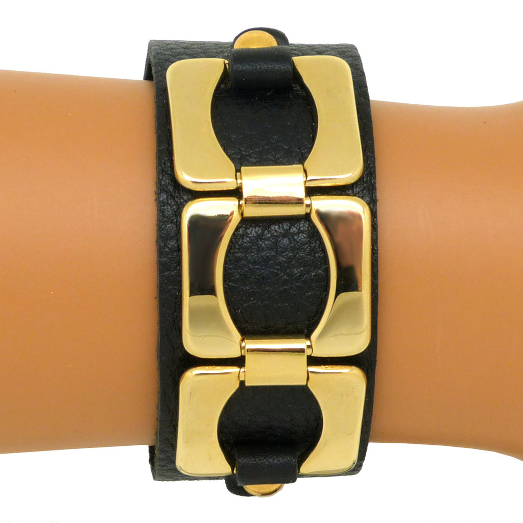 Black Leather Bracelet Gold toned Chain Link Accent Snap Closure - ILoveThatGift