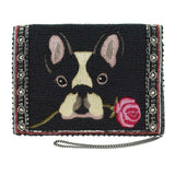 Mary Frances Bow Wow Beaded Embroidered French Bulldog Dog Mini Cross body Handbag - ILoveThatGift