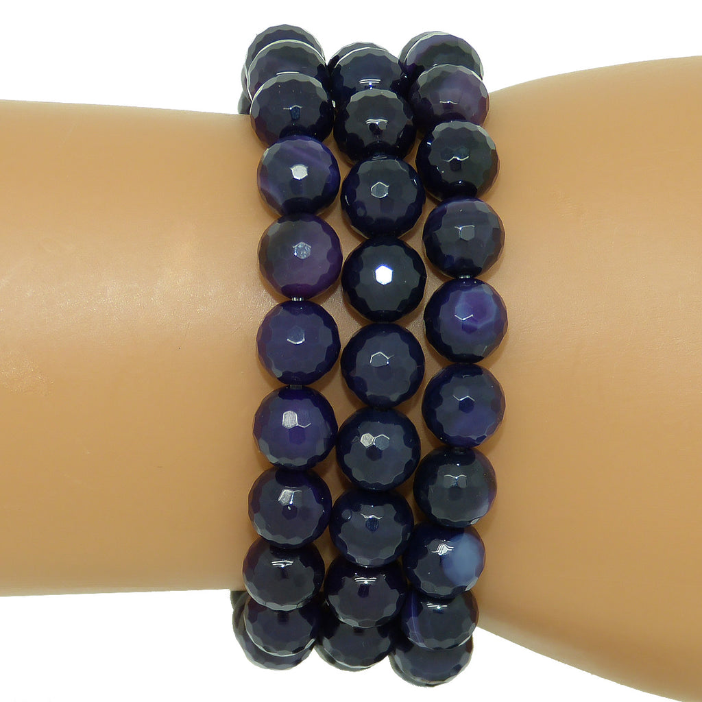 Nanni 3 Stretch Purple Faceted 8mm Agate Bracelet set