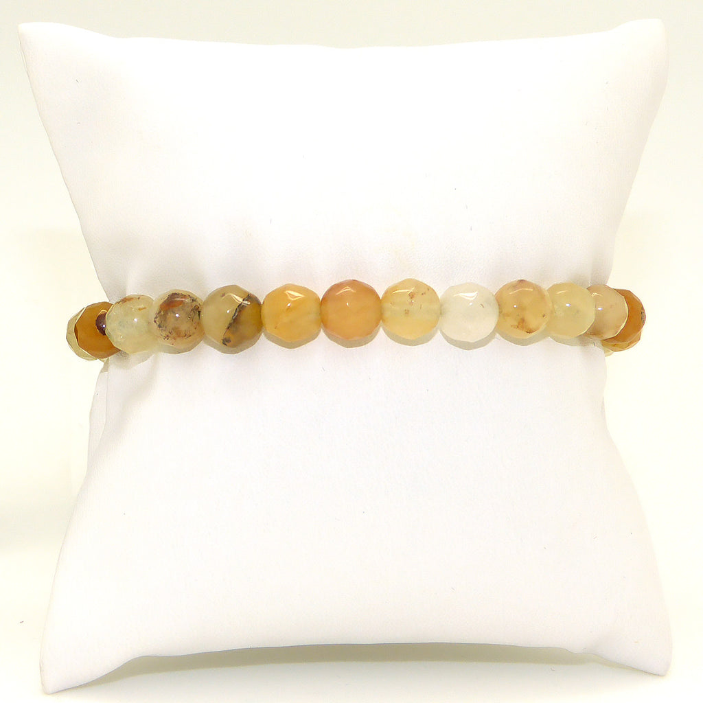 Nanni Stretch Beige Faceted 8mm Agate Bracelet