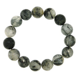 Nanni Stretch Black Gray Faceted 14mm Agate Bracelet