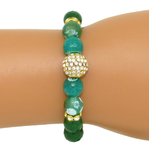 Luxe Couture Stretch Faceted 10mm Green Agate Pave Ball Bracelet