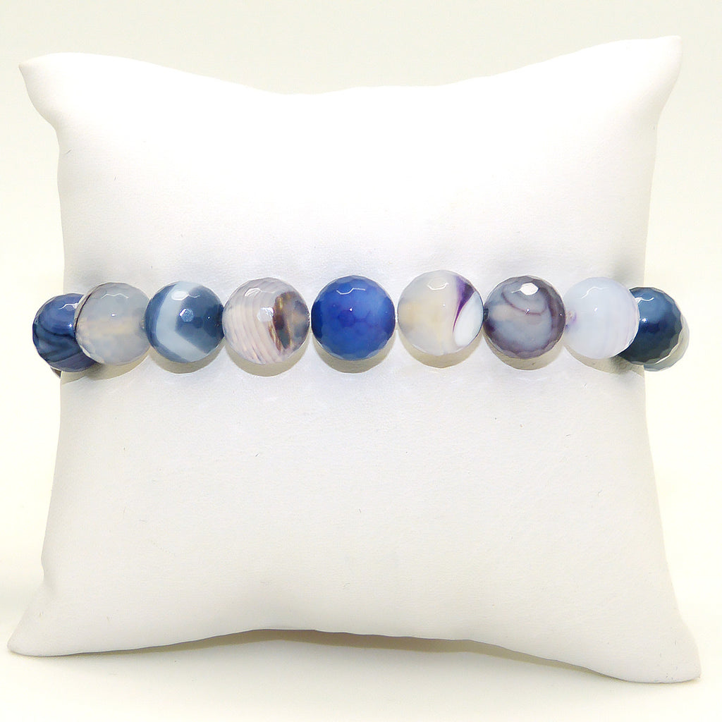 Nanni Stretch Blue Gray Faceted 10mm Agate Bracelet - ILoveThatGift