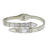 High Polished Silver Serpenti Serpant Crystal Bypass Hinged Bracelet Designer Inspired - ILoveThatGift