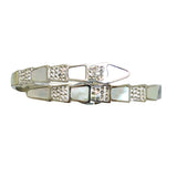 High Polished Silver Serpenti Serpant Crystal Bypass Hinged Bracelet Designer Inspired