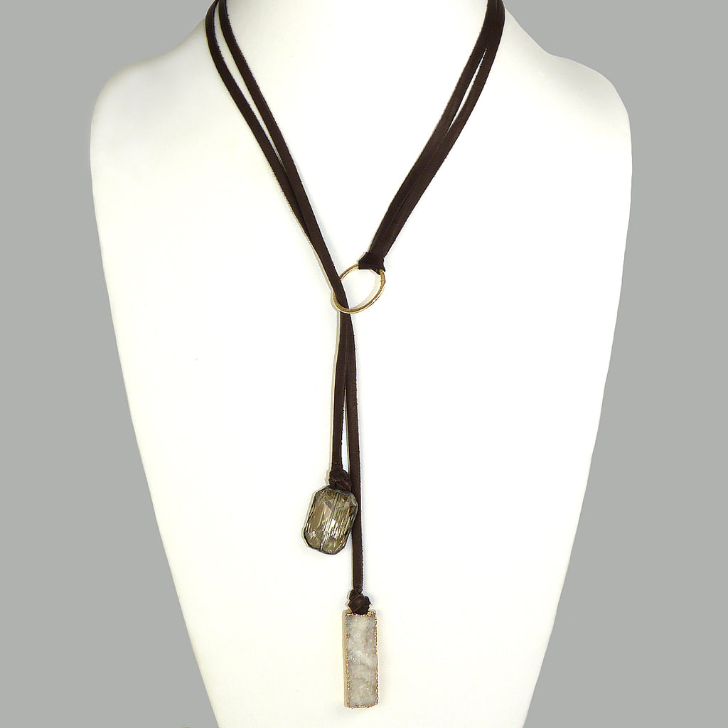 Gigi & Sugar Deerskin Druzy Gold Smoke Quartz Leather Necklace Choker Dark Brown - ILoveThatGift