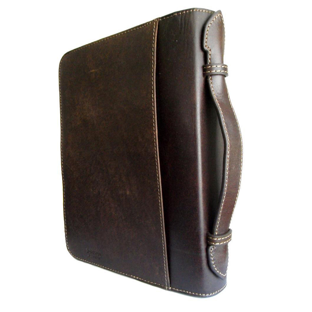 Nocona Western Bible Leather Cover Tooled Diagonal Cross Zippered Brown
