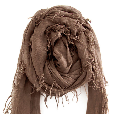 Chan Luu Scarf Soft Cashmere Silk Wrap Deep Taupe & Duster Bag