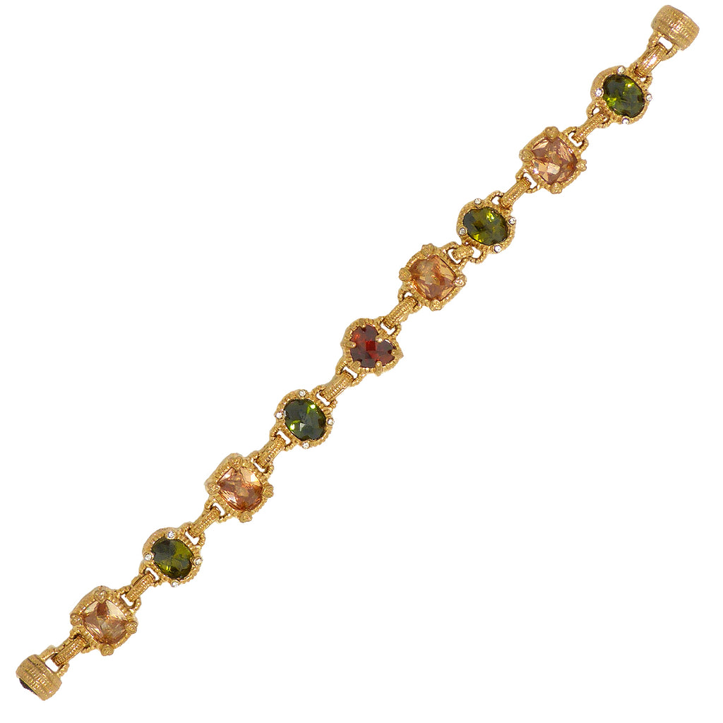 Gold Toned Semi Precious Stones Link Bracelet Magnetic Closure Designer Inspired 2 - ILoveThatGift