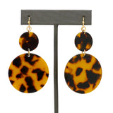 NahMu Round Tortoise Shell Resin Acrylic Dangle  Earrings 615 NWT