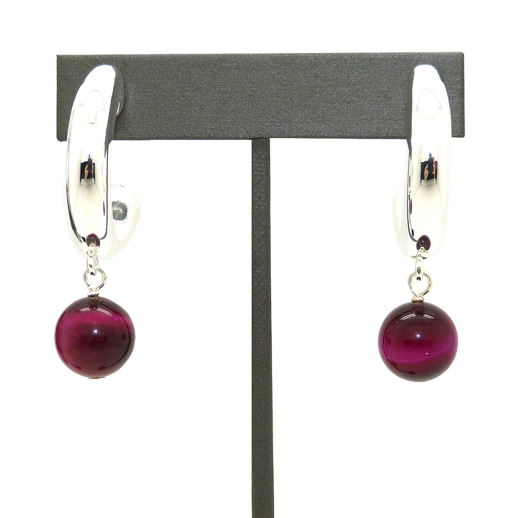 Simon Sebbag Sterling Silver Hoops Pink Tigers Eye Drop Earrings E2134PTE - ILoveThatGift