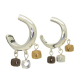 Simon Sebbag Sterling Silver Round Hoop Earrings with Mixed Hematite Dangles E2189
