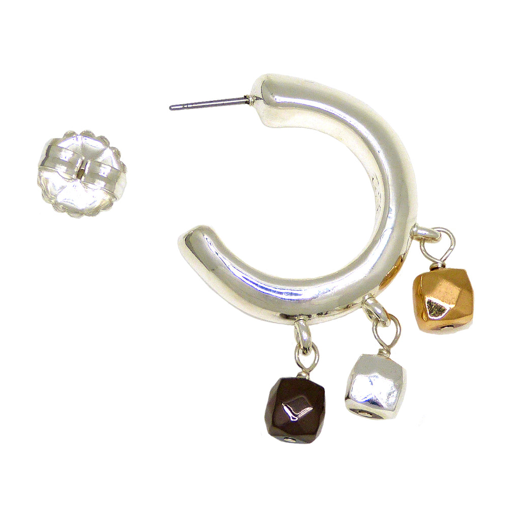 Simon Sebbag Sterling Silver Round Hoop Earrings with Mixed Hematite Dangles E2189 - ILoveThatGift
