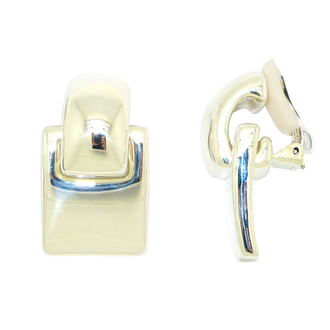 Simon Sebbag 2-in-1 Rectangular Curved Sterling Silver Earrings E2262 Clip