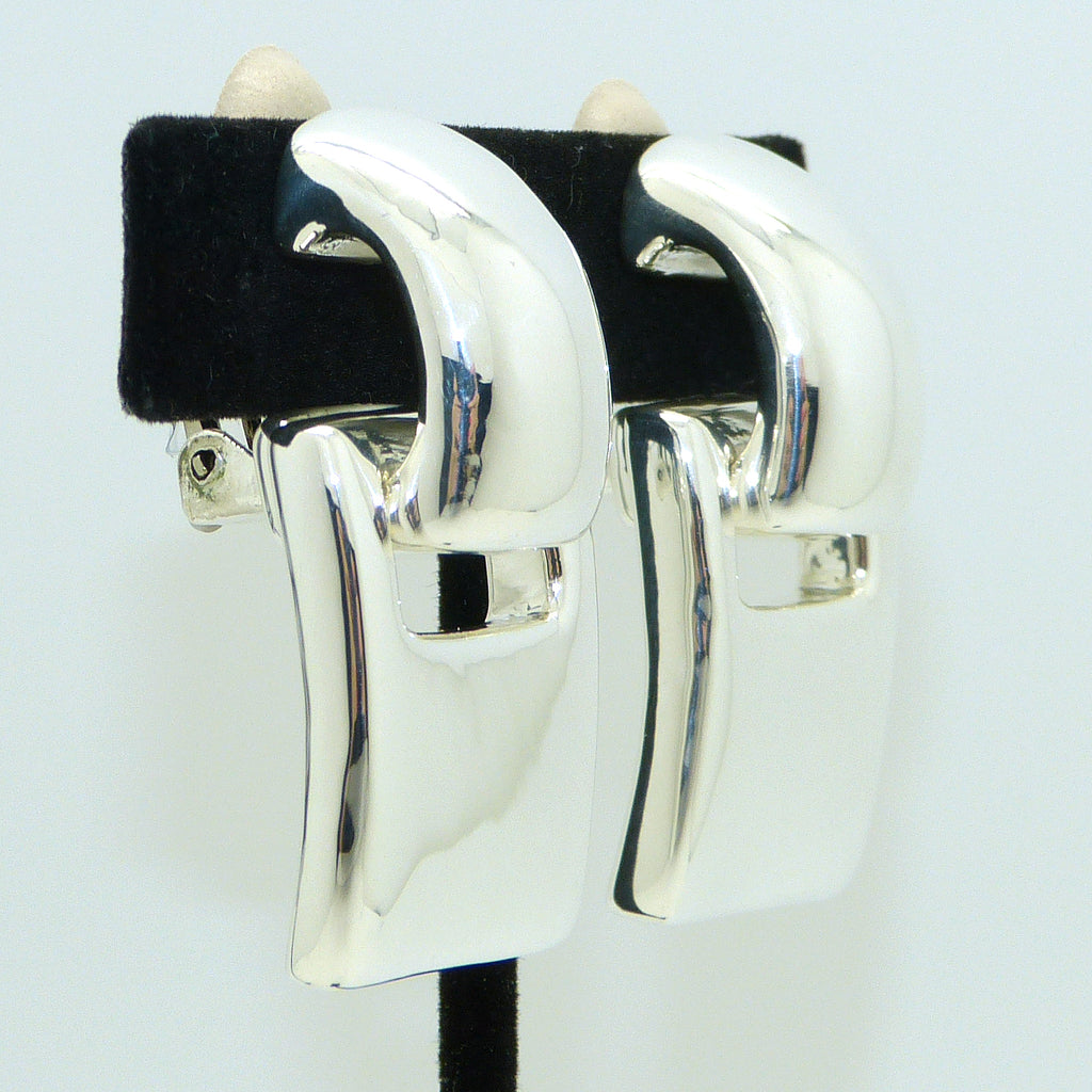 Simon Sebbag 2-in-1 Rectangular Curved Sterling Silver Earrings E2262 Clip - ILoveThatGift