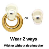 Simon Sebbag Smooth Gold Sterling Silver 925 Top Door Knocker Clip On Earrings 2-in-1
