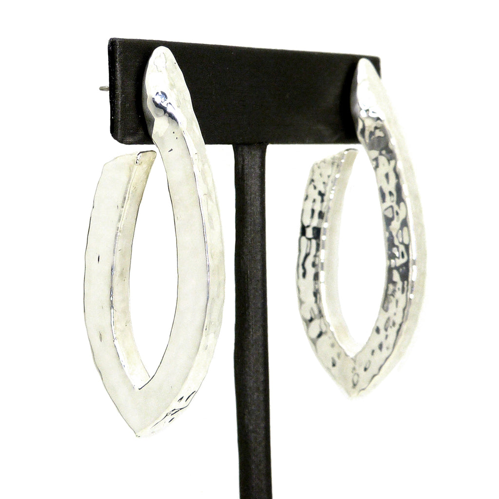 Simon Sebbag Sterling Silver 925 Abstract Hammered Oval Hoop Earring E2387 - ILoveThatGift
