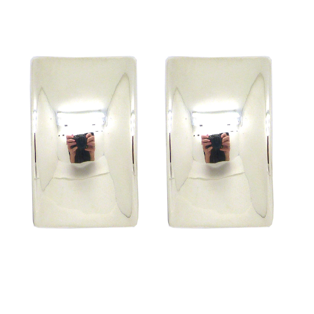 Simon Sebbag Smooth Rectangular Curved Sterling Silver Earring E2534 Clip
