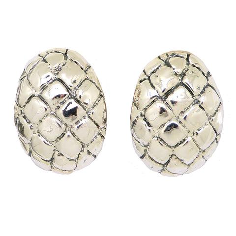 Simon Sebbag Sterling Silver Crocodile Oval Earring E2749 Clip