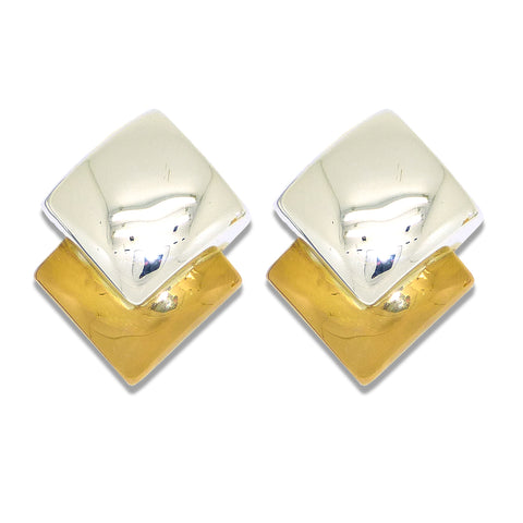 Simon Sebbag Smooth Gold Sterling Silver 925 Two Tone Square Clip On Earrings E2875V
