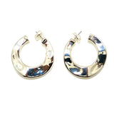 Simon Sebbag Wavy Round Thin Hoop Sterling Silver Earrings E2921