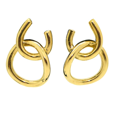 Simon Sebbag Gold Plated Sterling Silver Double Open Circle Earring E2950G