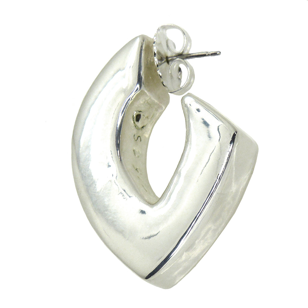 Simon Sebbag Sterling Silver 925 Abstract Smooth Chunky Pointed Hoop Earring E2992 - ILoveThatGift