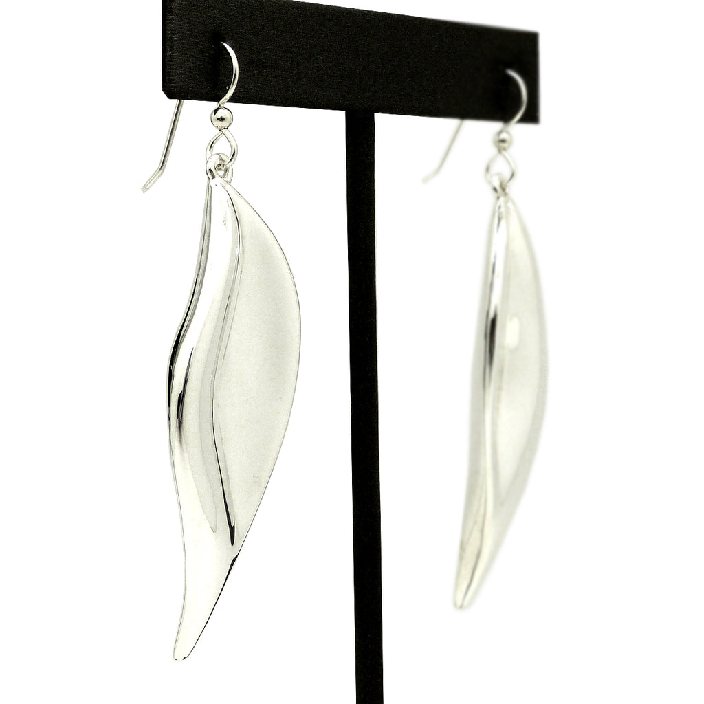 Simon Sebbag Smooth Sterling Silver Long Leaf Wire Earring E3002 - ILoveThatGift