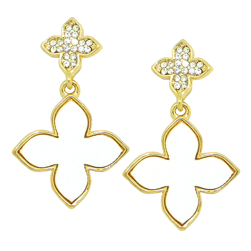 White Pave Rhinestone Clover Gold Earrings  by Liza Kim - ILoveThatGift