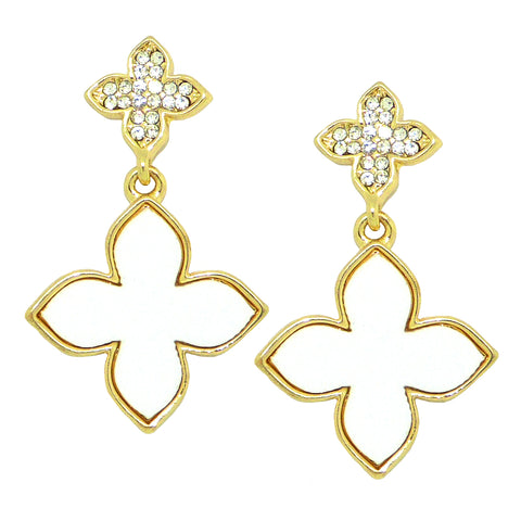 White Pave Rhinestone Clover Gold Earrings  by Liza Kim