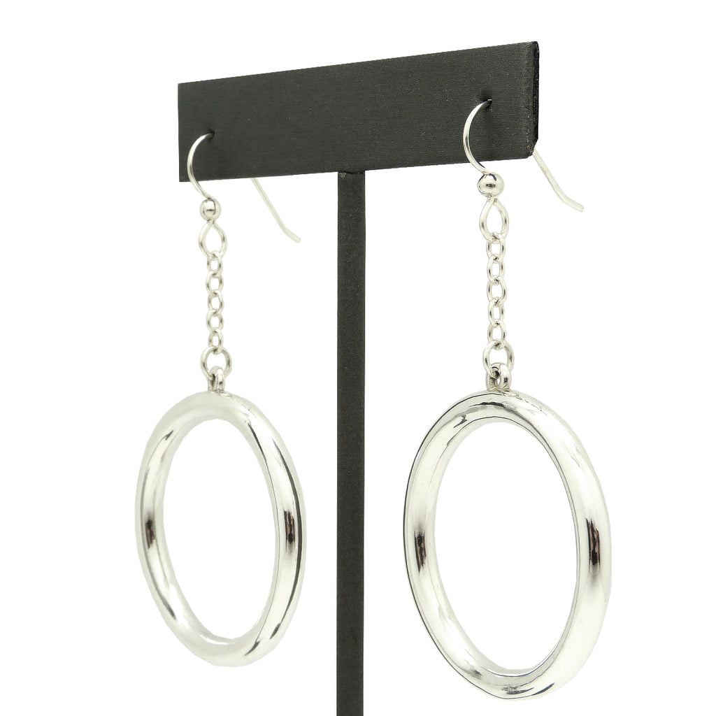 Simon Sebbag Sterling Silver Chain Wire Open Circle  Dangle Earrings EC102 - ILoveThatGift