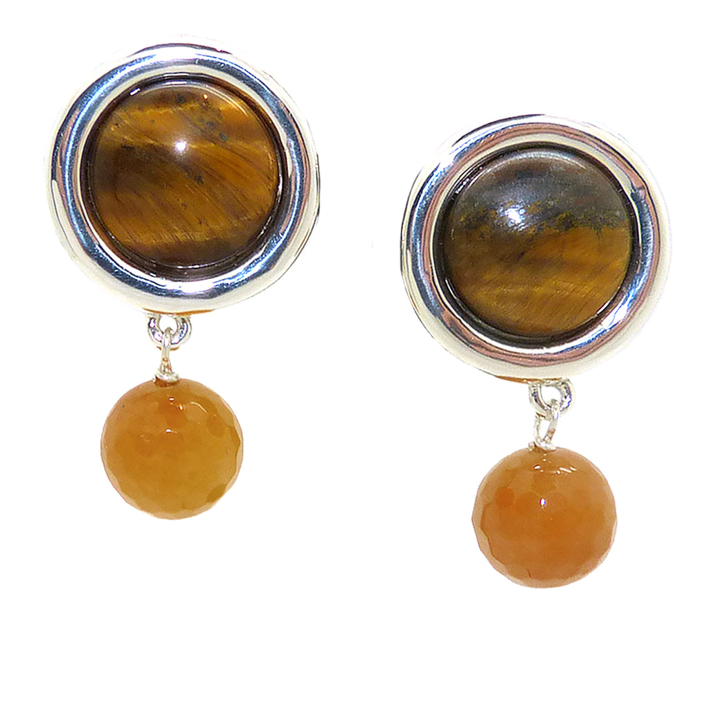 Simon Sebbag Sterling Silver Tigers Eye Circle Drop Earring Clipped EC103clTEFY - ILoveThatGift