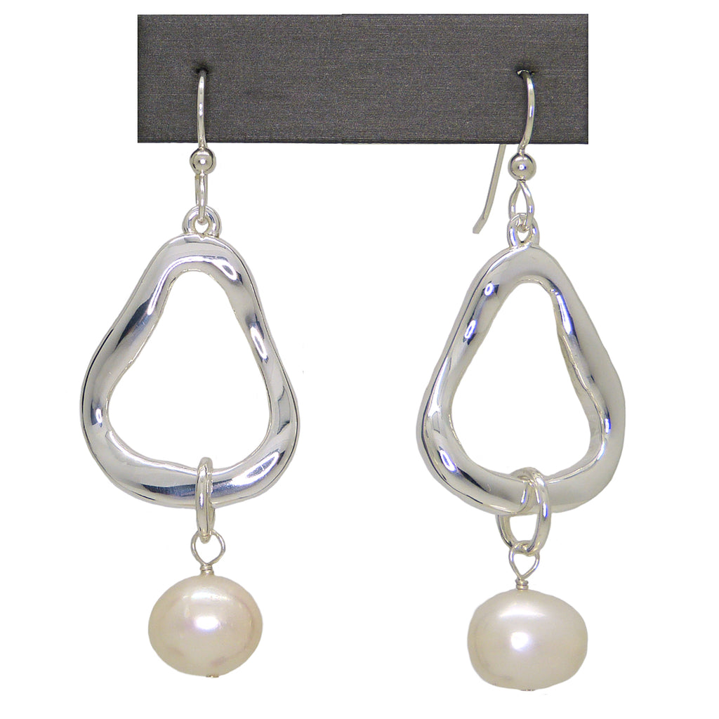 Simon Sebbag Sterling Silver 925 Abstract Open Earring with Pearl Drop EC159W - ILoveThatGift