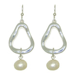 Simon Sebbag Sterling Silver 925 Abstract Open Earring with Pearl Drop EC159W