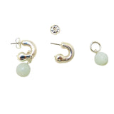 Simon Sebbag Sterling Silver Huggie Hoops Amazonite Drop Earrings Wear 2 Ways EC78